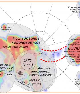 Рис. 5 – Карта научных публикаций по теме «Коронавирусы» с нанесённой на неё разметкой тематических областей
